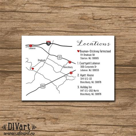 printable directions for invitations custom wedding map event map directions locations