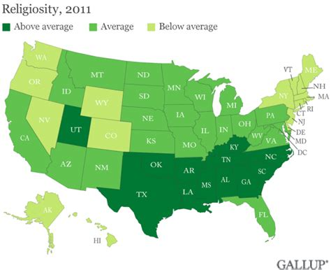 usa religion map gallup these are the top 5 most religious least