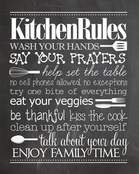 kitchen rules  printable   pinterest