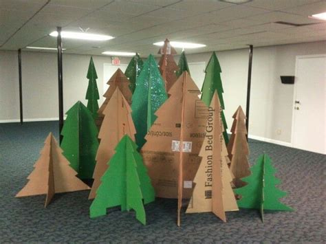 how to make brown paper christmas tree decorations candyland on gingerbread forest make out of brown cardboard with white painted on