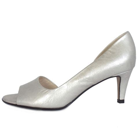 Silver Leather by Kaiser Jamala Open Toe Shoes In Silver Leather