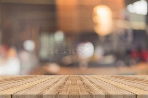 wooden board empty table  front  blurred background