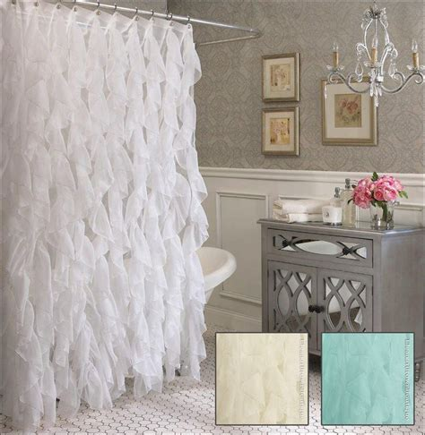 white lace shower curtain with valance cascade ruffle shower curtain with semi sheer waterfall