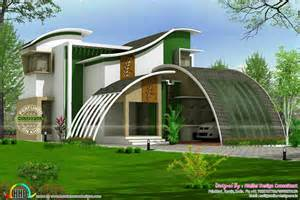 mansions designs flowing style curvy roof home plan kerala home design