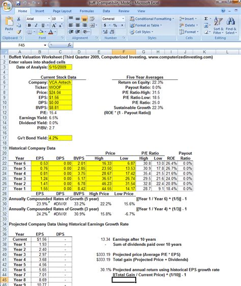 excel valuation template excel valuation report