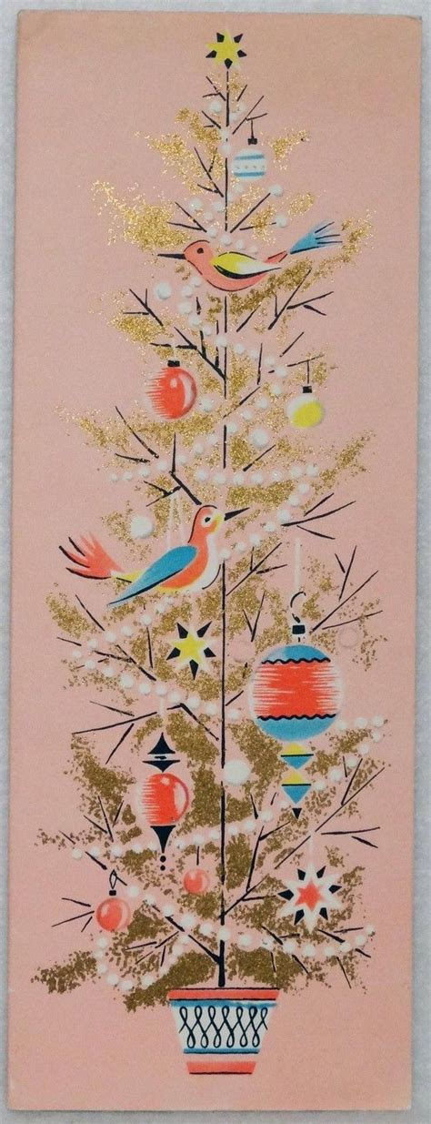 retro cards 1596 50s volland mid century pink tree