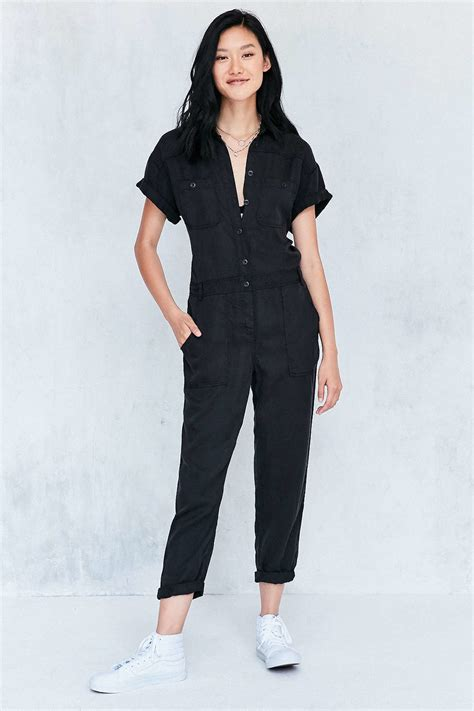 5449 Overall Fashion Inner bdg dixie surplus flight coverall jumpsuit in black lyst