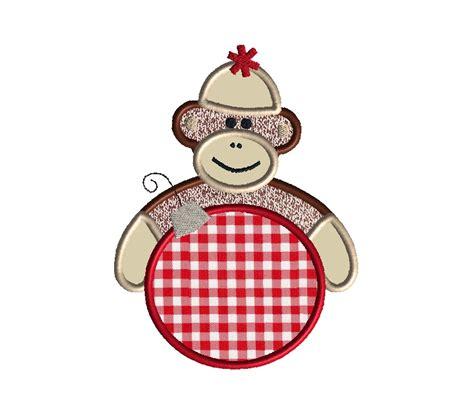 monkey applique sock monkey applique machine embroidery design