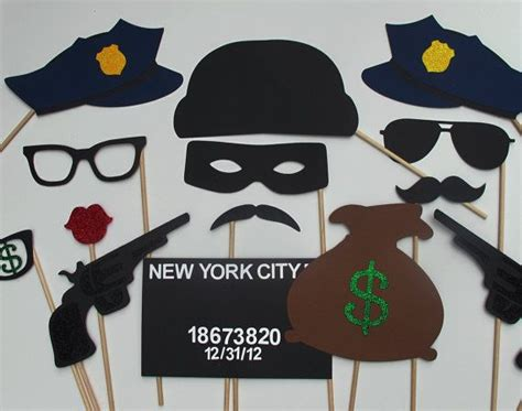 printable police photo booth props cops robbers photo booth prop collection best police