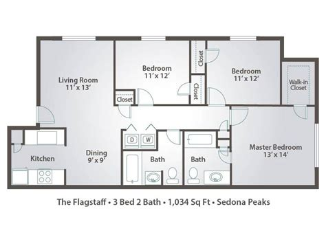 Floor Plans For Apartments 3 Bedroom by 3 Bedroom Apartment Floor Plans Amp Pricing Sedona Peaks