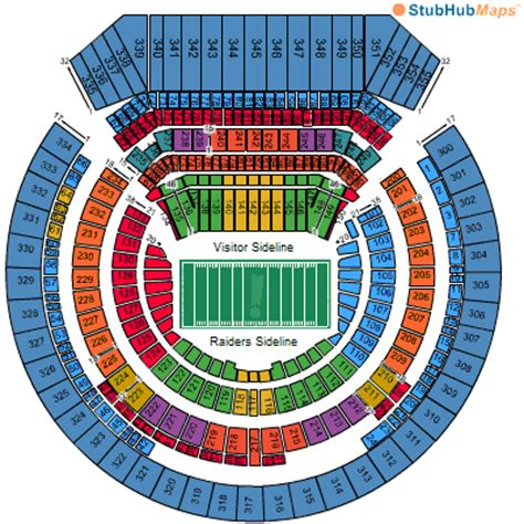 raiders club seats o co coliseum seating chart pictures directions and