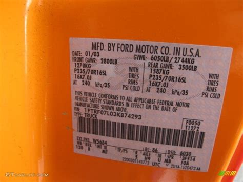 2003 f150 color code w5684 for hugger orange photo 74285793 gtcarlot