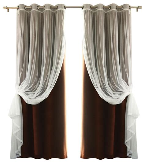 how to make gathered curtains gathered tulle sheer and blackout 4 piece curtain set