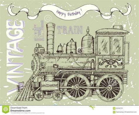 locomotiva testo biglietto di auguri per il compleanno felice con la retro