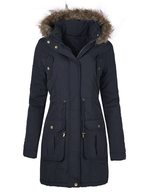 Quilted Plus Size Coats by Womens Faux Fur Hooded Quilted Winter Parka Jacket Coat Plus Sizes 8 24 Ebay