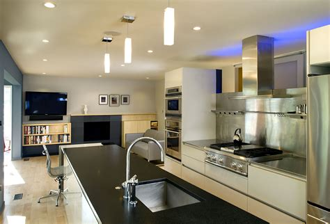 large kitchens design ideas contemporary split level house renovation led lights decor