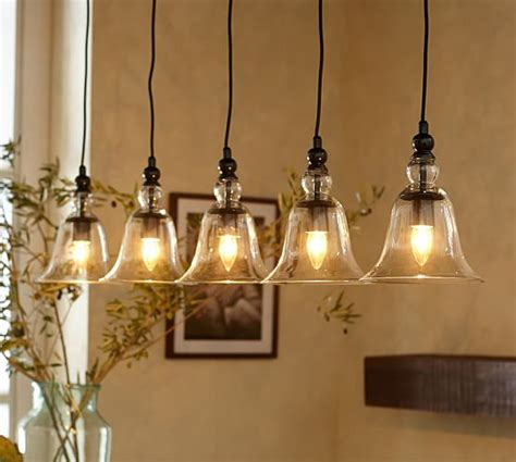hanging barn lights rustic glass 5 light pendant pottery barn