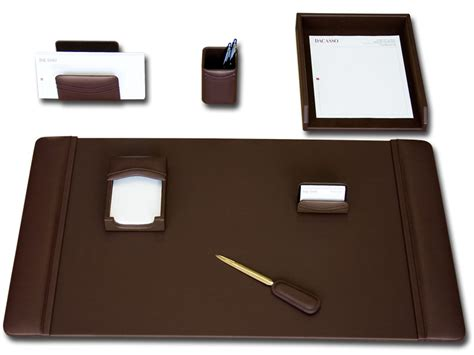 Brown Leather Desk Accessories D3404 Chocolate Brown Leather 7 Desk Set