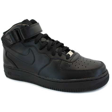 black nike shoes nike airforce 1 mid black black new mens leather trainers