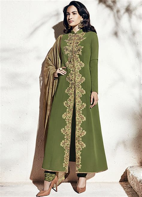 olive green color gown anarkali salwar kameez latest view image buy olive green color georgette party wear straight cut