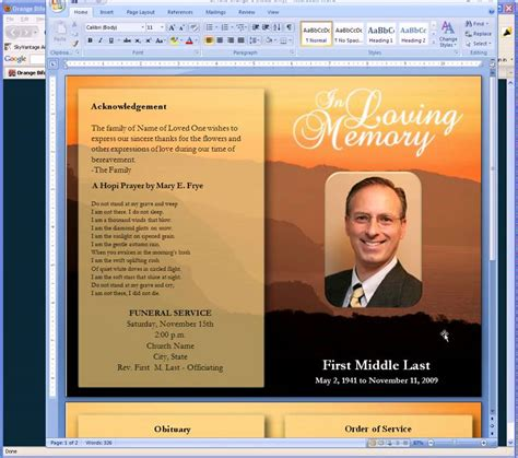 free funeral program template microsoft publisher free funeral program templates