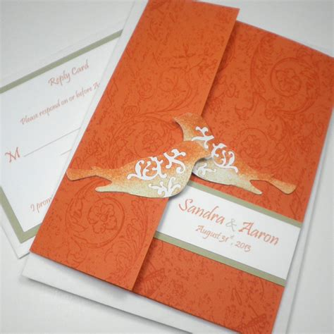 Unique Orange Wedding Invitations by Orange Wedding Invitations Bitsy