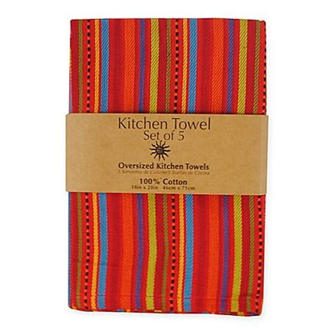 5 piece 100 cotton woven kitchen towels in ole stripe
