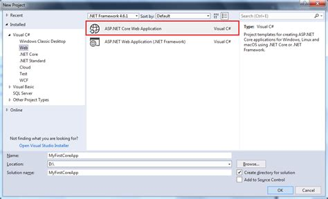 templates for asp net projects first asp net core application
