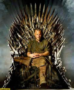 Ragnar viking on the iron throne game of thrones starecat com