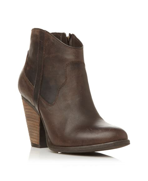 cowboy ankle boots for steve madden riffle cowboy ankle boots in brown lyst