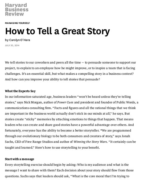 the how to tell a great story nail the and land your books how to tell a great story hbr