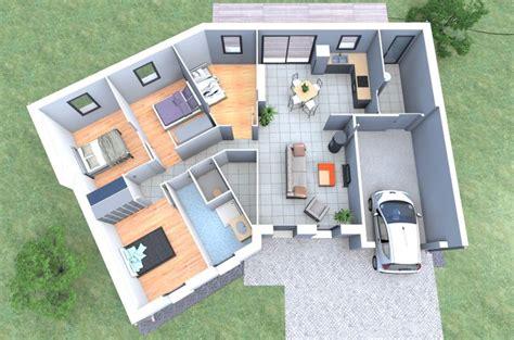 plan 3d chambre un plan 3d de maison 4 chambres originale avec une forme