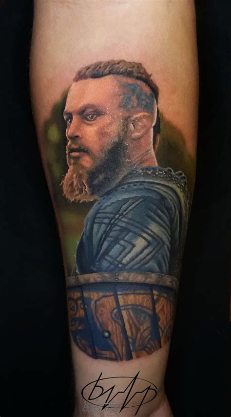 illustrative tattoo illustrative style colored leg of viking