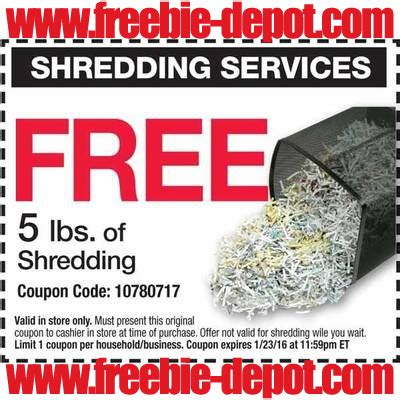 office depot coupons for shredding new freebie hotlist free stuff for january 1 2016