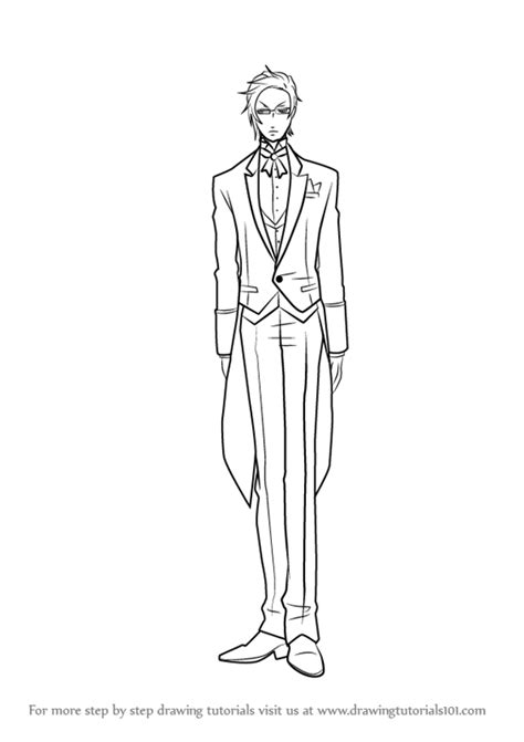 Step by Step How to Draw Claude Faustus from Black Butler