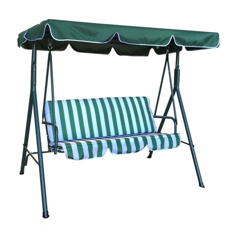c chair with canopy australia jhoola 3 seat outdoor swing chair in green w stripe buy
