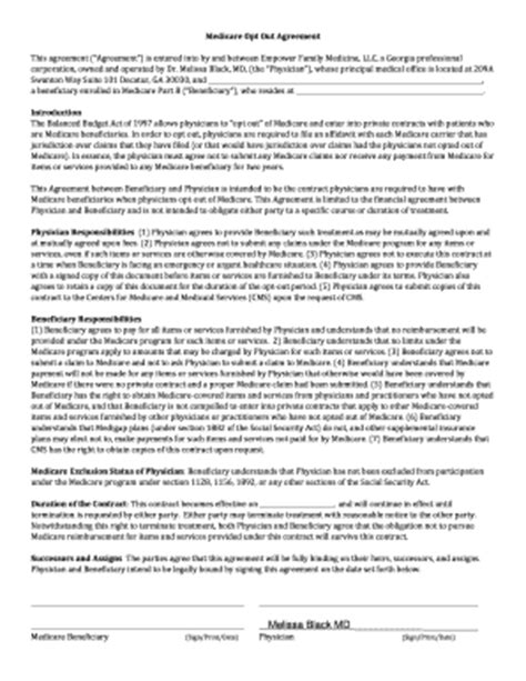 medicare opt out agreement fill printable
