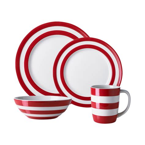 cornishware cornish red 16pc dinner set sale on now