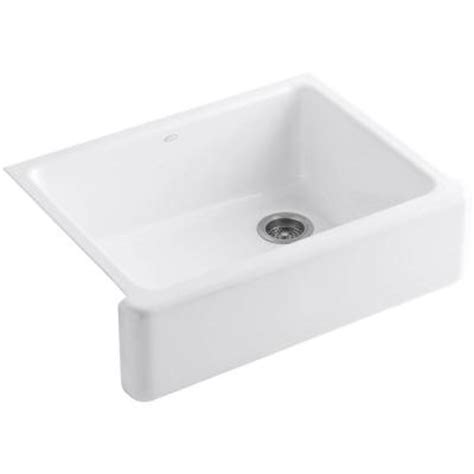 white single bowl kitchen sink kohler whitehaven undermount apron front cast iron 30 in