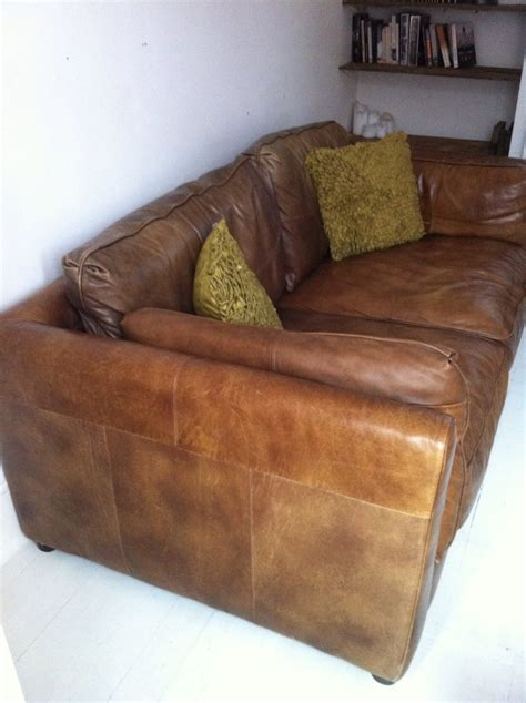 Vintage Antique Style Tan Leather Sofa Vintage Style Leather Sofa