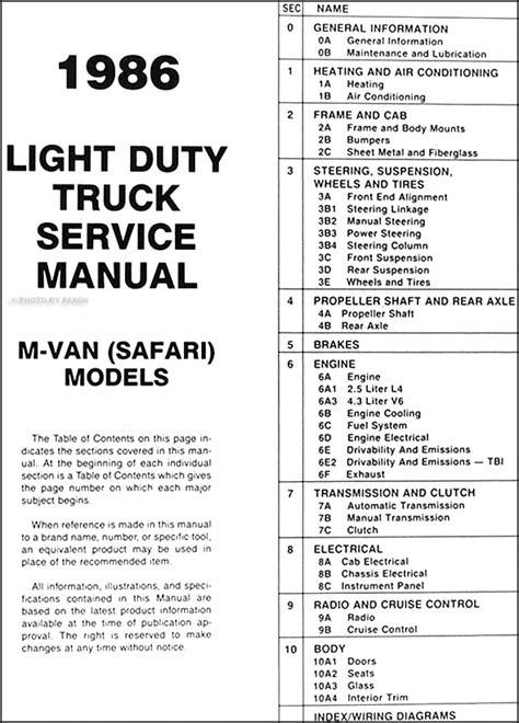 service manual 1995 gmc safari workshop manuals free pdf download gmc safari service repair 1986 gmc safari van repair shop manual original