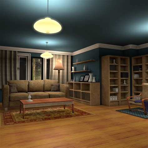 living room nightclub 3d luxury living room night interior model