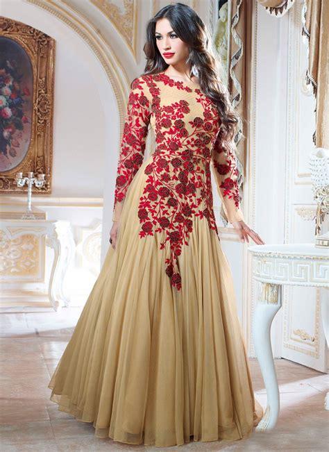 net pattern gown beige net floral patterns designer gown