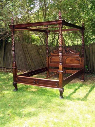 5 pc queen bed hand carved solid mahogany wood sleigh vtg large solid mahogany hand carved queen size canopy