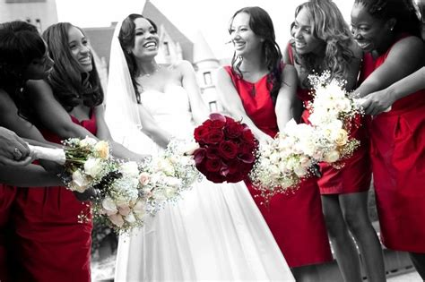 0 african american wedding red on white beautiful