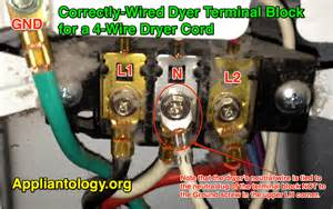 correctly wired dyer terminal block for a 4 wire dryer cord the appliantology gallery