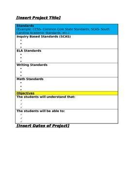 Simple Project Based Learning Pbl Lesson Plan Template By Allison Cash Project Based Learning Planning Template For Students