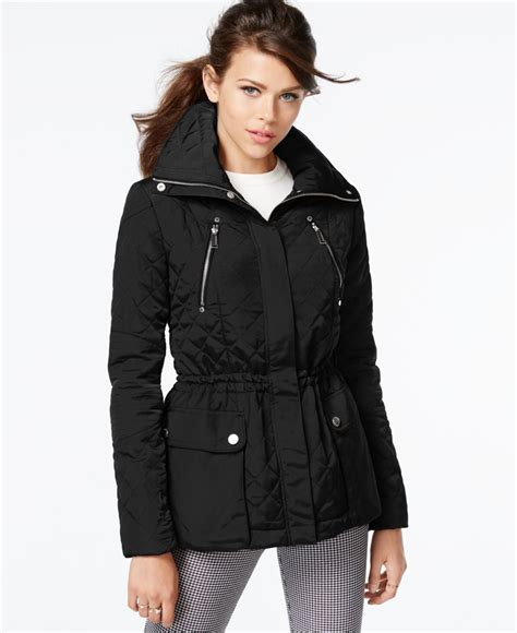 Pull And Anorak Quilted Jacket Black bcbgeneration hooded quilted anorak jacket in black lyst