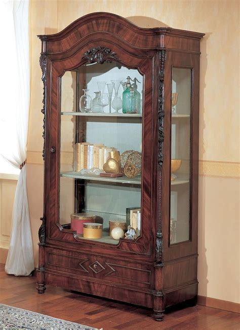 luxurious wooden carving showcase cabinet using clear ducale ducve2p display cabinet with 2 doors by marzorati