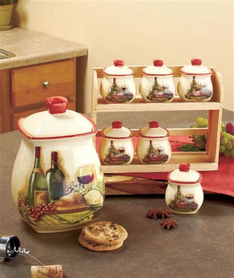 tuscan canisters kitchen tuscan inspired vineyard kitchen canister set spice rack or utensil holder ebay